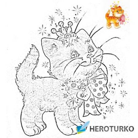 Разукрашка для малышей - Кошка с бантиком и в короне