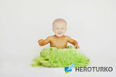 Шаблон для фотошопа - Малыш в капусте