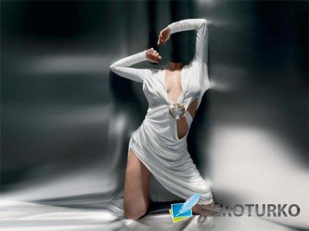 Шаблон psd женский - Фотосессия в белом платье