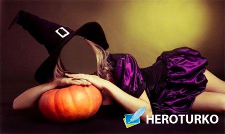 Шаблон для фото - Девушка в костюме ведьмы ждет хэллоуина