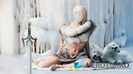 Шаблон для фотошопа - Красивая блондинка окутана мехами с двумя белыми волками