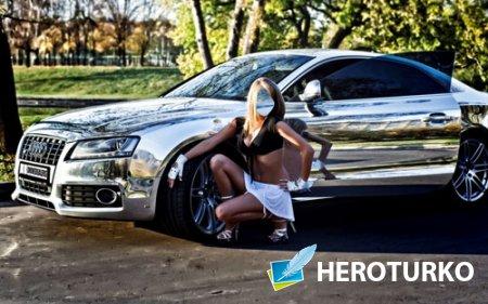 Женский шаблон - Девушка и шикарный автомобиль