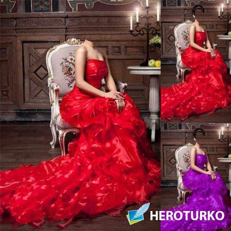 Шаблон для фотомонтажа - Девушка сидя на кресле в ярком наряде