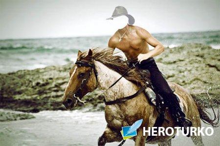 Шаблон для Photoshop - Верхом по пляжу на лошади