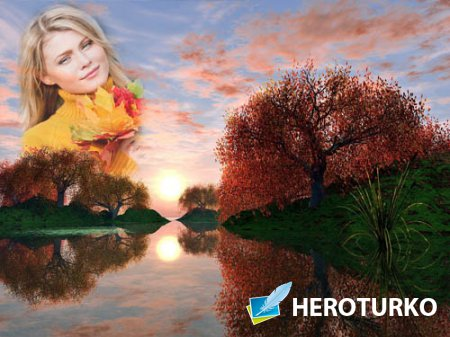 Закат осенью - рамка для фотошоп