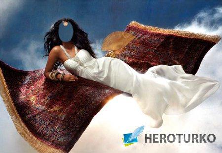 PSD шаблон - Принцесса в длинном белом платье на сказочном ковре