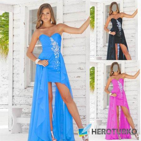 PSD шаблон - Стройная красавица на крыльце в нарядном платье