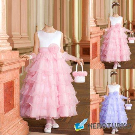 Шаблон для фотомонтажа - Принцесса в праздничном платье