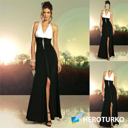 Шаблон женский - В бело-черном вечернем платье