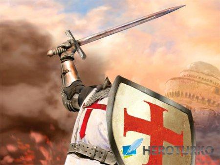 Шаблон для фотошопа - Рыцарь в доспехах в бою