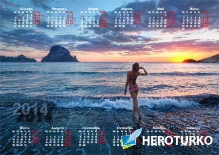 Календарь - Девушка у моря на закате