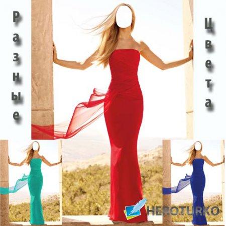 Шаблон psd женский - Стройная блондинка в платье различных цветов