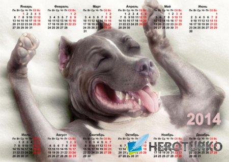 Красивый календарь - Веселая собачка