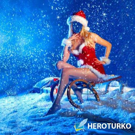 Шаблон для фото - Снегурочка на санках под снегом