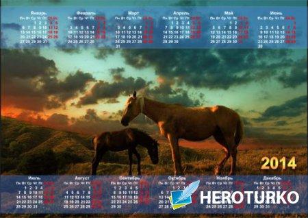 Календарь - 2 лошадки пасутся на полянке