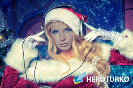 Шаблон для девушек - Блондинка в костюме - новогодний диджей