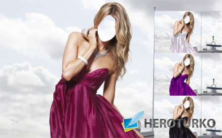 Шаблон для photoshop - Блондинка в платье на корабле
