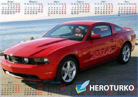 Настенный календарь на 2014 год с автомобилем Ford Mustang