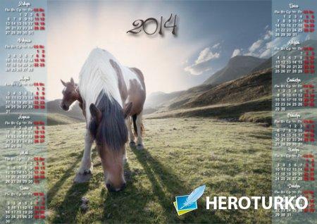 Календарь 2014 - Лошадка на пастбище