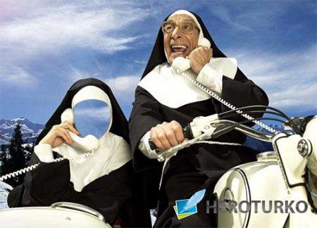 Шаблон для photoshop - Монашка в коляске с телефонной трубкой