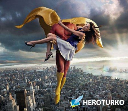 Шаблон для фото - Супер герой спасает девушку