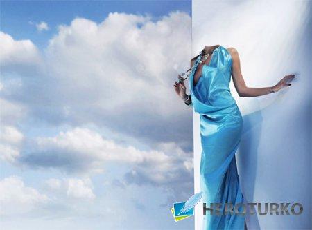 Шаблон для фотомонтажа - В голубом обворожительном наряде
