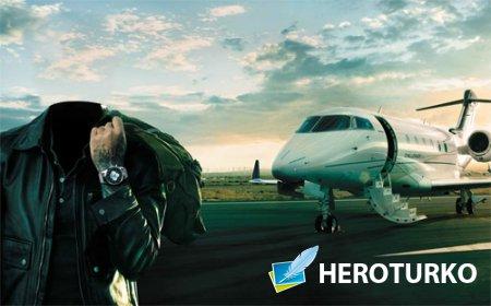 Шаблон для фотомонтажа - Богатенький парень у собственного самолета