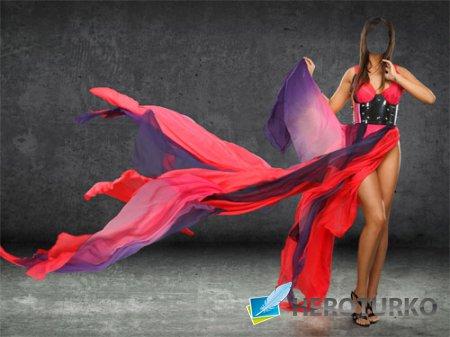 Шаблон psd женский - Брюнетка в красно-синем платье