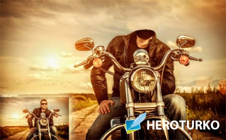 Шаблон для мужчин - Парень на своем мотоцикле