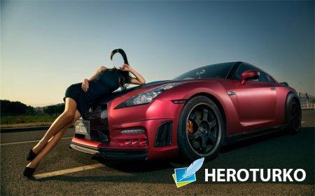 Шаблон для Photoshop - Девушка на капоте спортивного авто