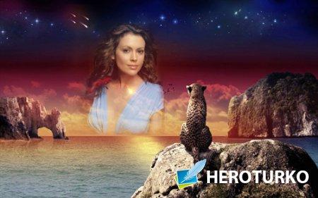 Рамка для фото - Леопард у моря на закате любуется вашим фото