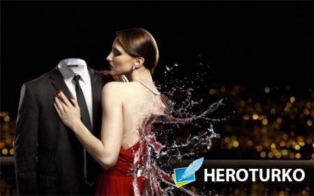 Шаблон мужской - Фото с разливающиеся девушкой