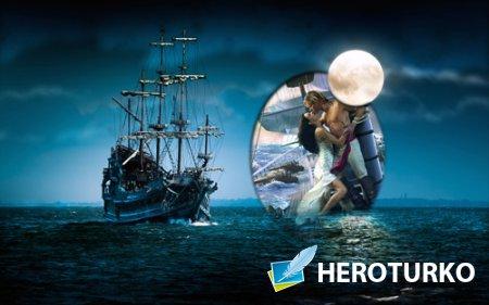 Рамка для фотошопа - Таинственный корабль при луне