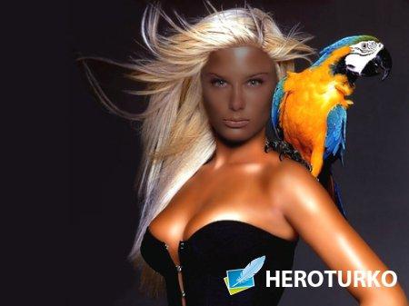 Шаблон для фотошопа - Девушка с ярким попугаем