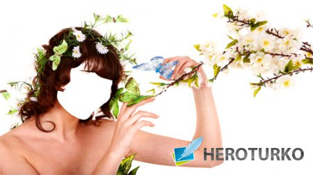 Женский шаблон - Бабочки и цветы