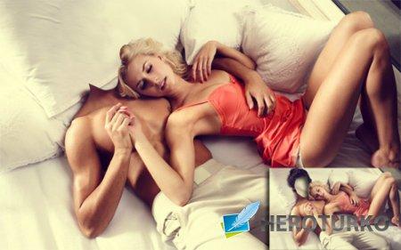 Шаблон для фотошопа - Прирожденный мачо с блондинкой