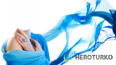 Шаблон для фотомонтажа - В красивом голубом платье