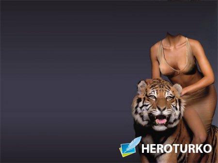 Шаблон psd женский - В обнимку с тигром