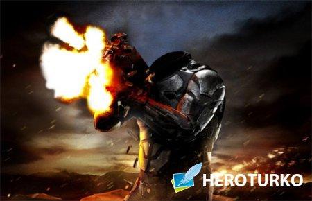 Шаблон для фотошопа - Солдат в бою