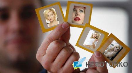 Рамка для фотошопа - 4 ваших фото в мужских руках