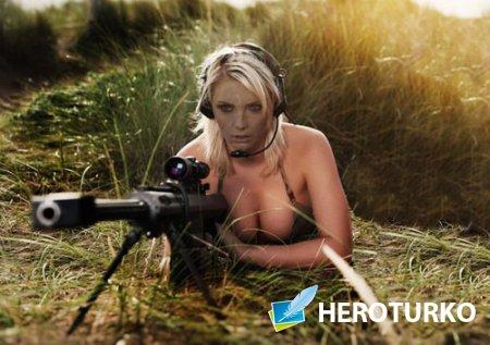 Шаблон для девушек - Снайпер с оружием в засаде