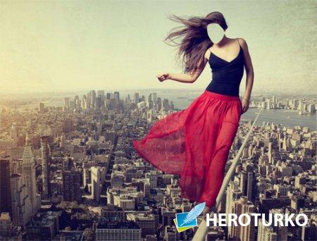 Шаблон для фотошопа - Над мегаполисом