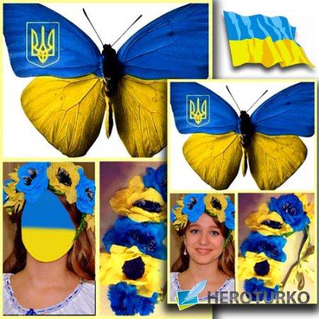 Шаблон для Photoshop - Красивая девушка в сине-желтом веночке