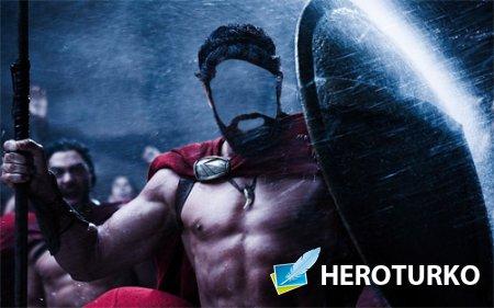 Шаблон для мужчин - Крепкий спартанец под дождем на поле боя