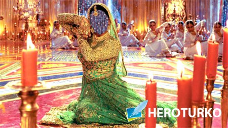 Шаблон для фотошопа - Девушка в ярком индийском платье