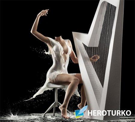 Шаблон для фотомонтажа - Игра на арфе в оригинальном молочном платье