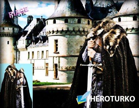 Шаблон для фотомонтажа - Славный рыцарь у замка