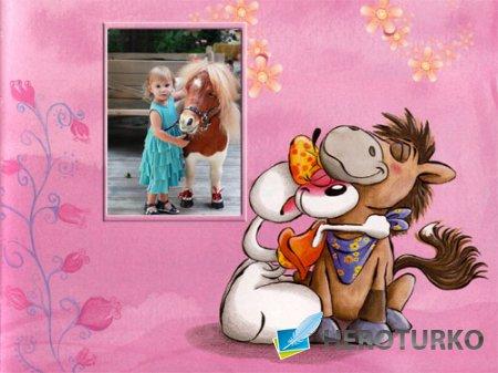 Рамка для детей - Лошадка и мышка