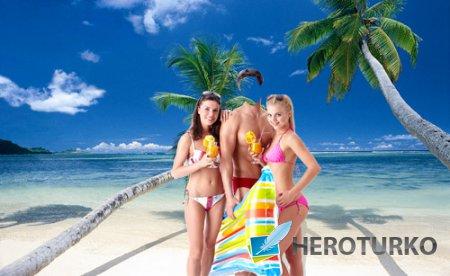 Шаблон для фото - На морском отдыхе с девушками