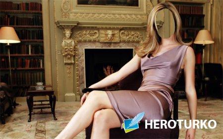 PSD шаблон для девушек - Дама сидя на кресле рядом с камином
